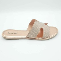 Bamboo Womens Christy-06S Slides Sandals Metallic Peach Textured Slip On 10 New - $17.80
