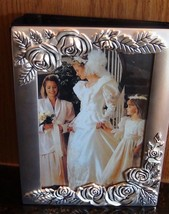 Silver Plated Flowered Wedding Picture 4x 6 100... - $21.97