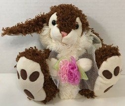 Goffa Bunny Rabbit Plush Easter curly brown cream holding pink green flower - $8.90