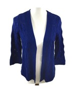 TanJay Petites Open Front Metallic Cardigan Sweater Size SP Blue 3/4 Sle... - $19.79
