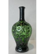 Vintage Bohemian Glass Flower Vase Bottle Green with Floral Silver Overlay - $51.43