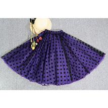 Elegant Purple Polka Dot  Midi Skirt High Waisted Tulle Midi Skirt Plus Size image 3
