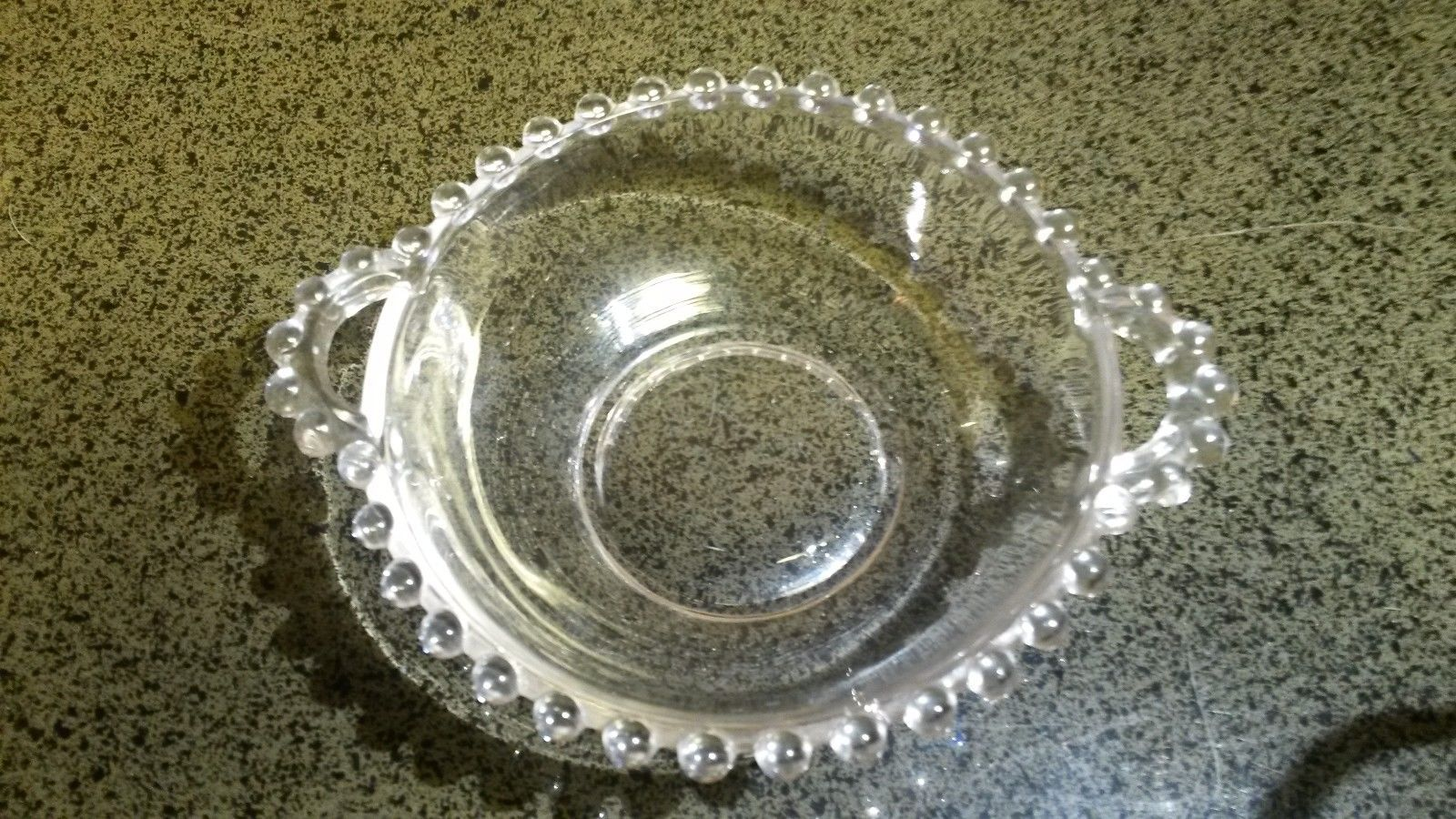 Candlewick Beaded Pattern Handled Candy Dish - Indiana Glass Co 1940s