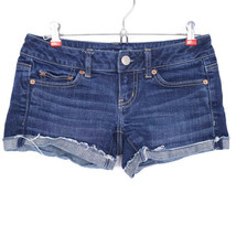 American Eagle Womens Jean Shorts Cut Off Size 0 Stretch Frayed Dark - $32.42