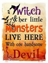 """Witch Monsters Devil Halloween Theme Metal Sign 9"""" x 12"""" Wall Decor - DS - $23.95"""