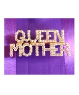 QUEEN MOTHER Gold Plated Society Brooch / Pin with Rhinestones Red Hat Fun - $9.50