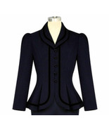 4X 26 DK BLUE PINUP PUFF SLEEVES COUTURE LINED JACKET PEPLUM BLAZER BLAC... - $28.80