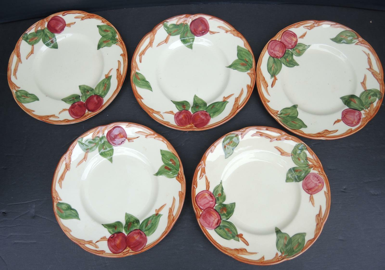 Five Vintage Franciscan Bread and Butter Plates - Apple Pattern