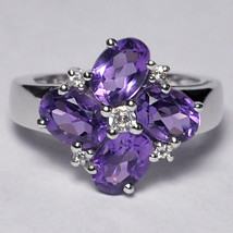 Natural Purple Amethyst Topaz Cluster Flower Ring Women Jewelry Sterling... - $69.00