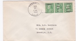 FRANKLIN, CALIF JANUARY 17 1933 ON 1C FRANKLIN STAMP - $3.43