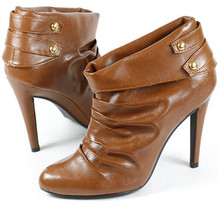 Rust Brown Crinkle Faux Leather High Heel Fashion Ankle Boots 8.5 us Qupid - $14.99