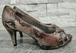 Bandolino Leather Snakeskin Slip-on Classic Peep-toe Pumps for Women, Size 6 M - $14.00