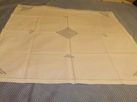 Tablecloth Vintage Small Bridge Cloth White Linen Embroidery/Cutwork  #89TC - $20.57