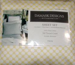 Charter Club Damask Designs 500 Thread Count TWIN Sheet Set Butter Dot - $34.65