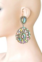 "3.25"" Long Cluster Clip On Earrings, AB  Rhinestones, Drag Queen, Pagean... - $18.95"