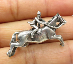 925 Sterling Silver - Vintage Jockey & Race Horse Motif Brooch Pin - BP2857 - $35.58
