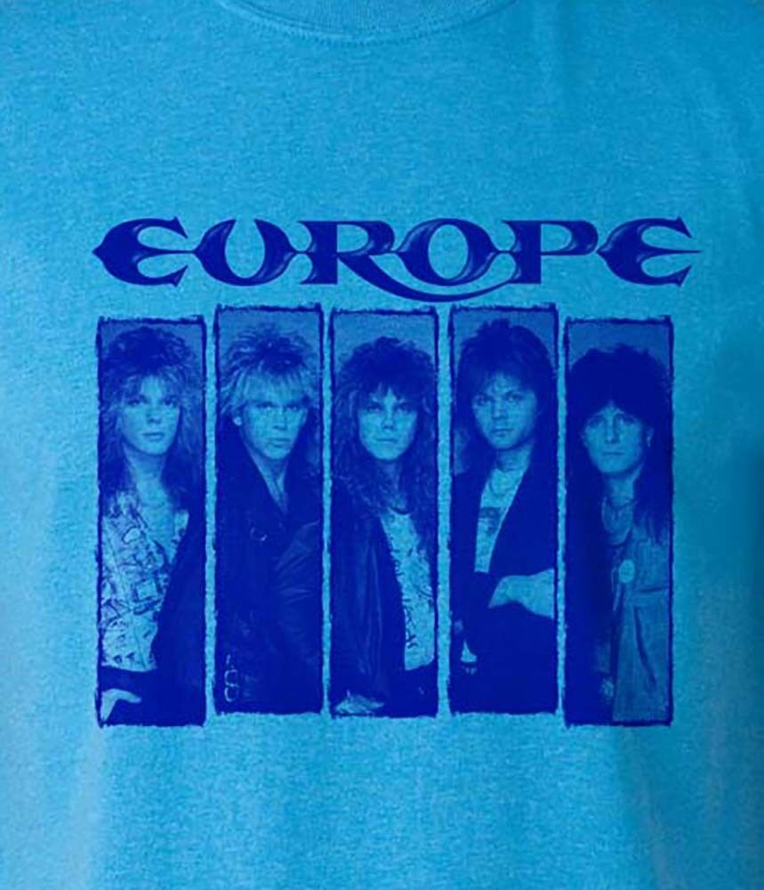 Europe T-shirt Heather Blue heavy metal rock retro 80s cotton blend graphic tee