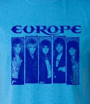 Europe T-shirt Heather Blue heavy metal rock retro 80s cotton blend graphic tee image 1