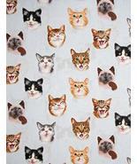 Pet Selfies Cat Feline Kitten Blue Cotton Fabric by The Yard - $27.01