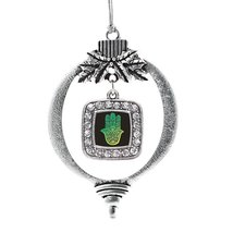 Inspired Silver Hamsa Classic Holiday Christmas Tree Ornament With Cryst... - $14.69
