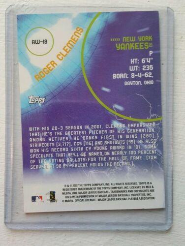 2002 Topps All-World Team AW-18 Roger Clemens New York Yankees MLB Pitcher