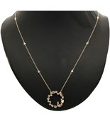 1/2 Ct Round Diamond 10k Solid Gold Open Circle with leaf Pendant free 1... - $363.32