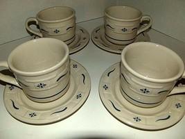 Longaberger Pottery Mug CLASSIC BLUE 4 Set COFFEE CUPS & SAUCERS ~ USA  - $49.49