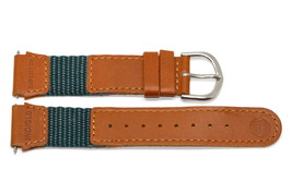 16MM GREEN BROWN LEATHER NYLON IRONMAN EXPEDITION INDIGLO WATCH BAND STRAP - $11.87