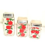Set of Three Vtg Glass Square Small Jar Canisters Red Apple Fruit Design... - $27.95
