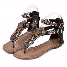 Vintage Rhinestone Bohemia Women Flat Sandals - $37.62