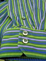 GAP Fitted Premium -Olive Green-Purple -STRIPED-BUTTON-DOWN-SHIRT-S-2XL image 3