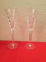 Rare Vtg Waterford Crystal Lincoln Series Toast Champagne Flutes Pair - $80.00