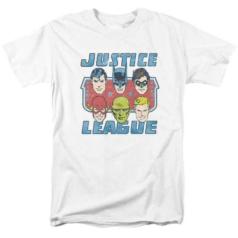 Justice league dc heroes t shirt comic book superfriends white cotton dco566