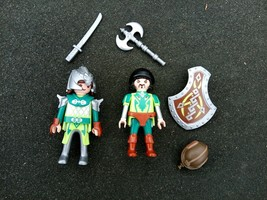 PLAYMOBIL Figure lot of 2 Knight Dragon Slayer Figure Sword Armor Shield - $8.79