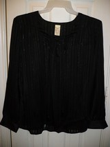 Faded Glory Women's Long Sleeve Foiled Lace Up Blouse Black Soot Small 4-6  - $14.84