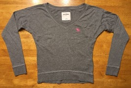 Abercrombie Kid's Girl's Gray Long Sleeve V-Neck Shirt - Size Small - $9.99