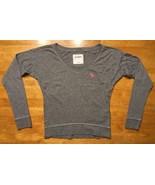 Abercrombie Kid's Girl's Gray Long Sleeve V-Neck Shirt - Size Small - $9.99
