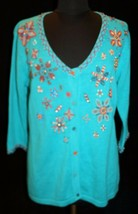 Storybook Knits XS Cardigan Sweater Beadwork Beaded Turquoise Womens - $33.67