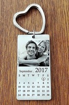 Personalized Stainless Steel Photo Calendar KeyChain BEST GIFT - $16.95