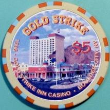 $5 Casino Chip, Gold Strike, Boulder City, NV. Casino Building, 1996. V12. - $6.50