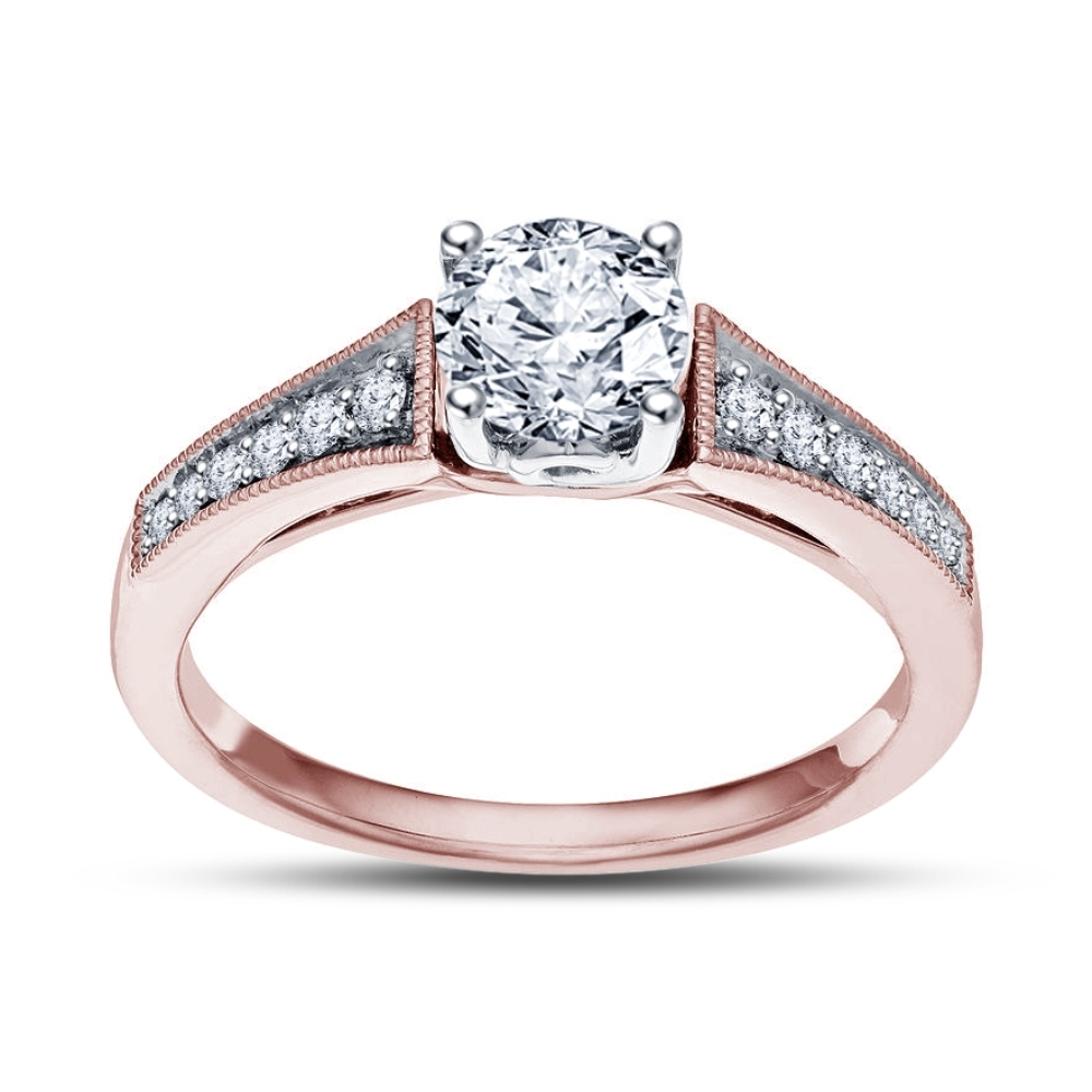 Rose Gold Plated 925 Silver D/VVS1 Diamond Solitaire W/ Accents Engagement Ring