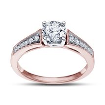Rose Gold Plated 925 Silver D/VVS1 Diamond Solitaire W/ Accents Engageme... - $73.99