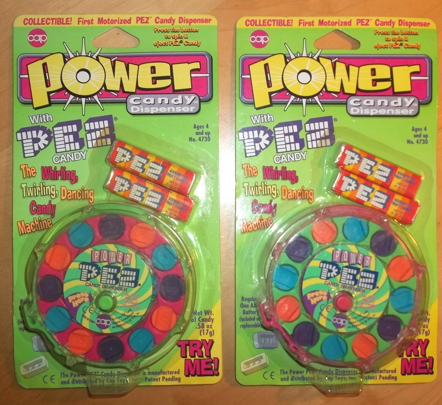 Set of 2 Power PEZ Motorized Candy Dispenser Mint on Card 1996 - Hard to find! - $18.00