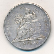 1894 GUATAMALA SILVER UN PESO-VERY NICE CIRCULATED COIN-SHIPS FREE! - $64.95