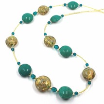 """LONG NECKLACE GREEN YELLOW MURANO GLASS DISC GOLD LEAF, 70cm, 27.5"""" ITALY MADE image 2"""