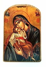 Wooden Greek Christian Orthodox Wood Icon of Mother of Jesus & Jesus Christ/mp2 - $12.38