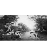NUDE Mythology Nymphs Teach Young Bacchus to Swim - Victorian Era Print - $9.45
