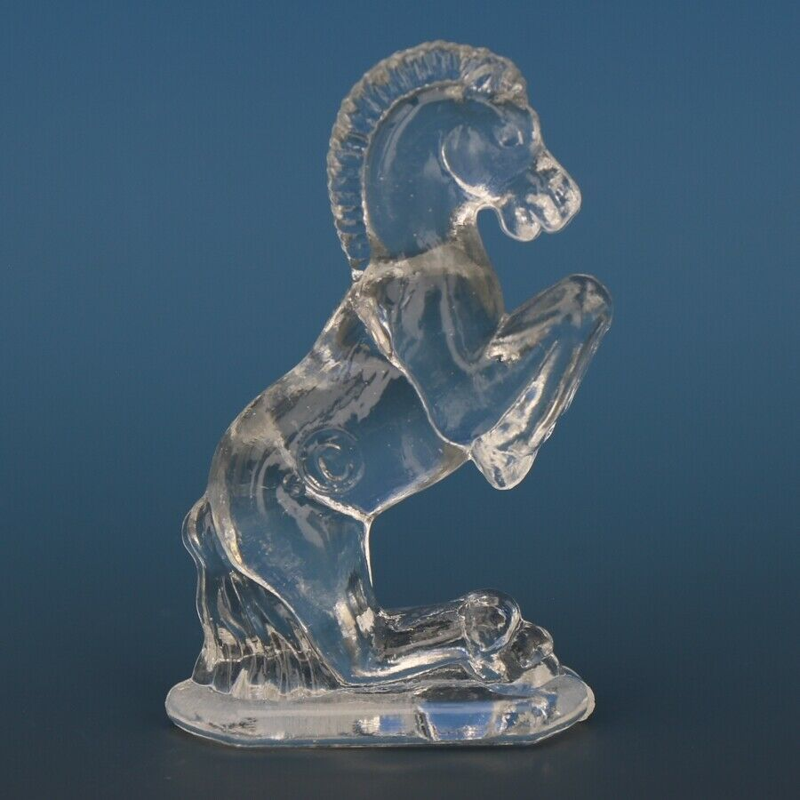 Vintage Smith Glass Miniature Crystal Horse Rearing
