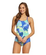 NIKE Womens Printed Mesh Inset One-Piece Swimsuit Blue XL - $28.49