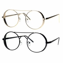 Retro Round Side Visor Flat Metal Bar Circle Clear Lens Eye Glasses - $12.95
